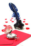 Red hearts with pen and ink, and Clock Royalty Free Stock Photo