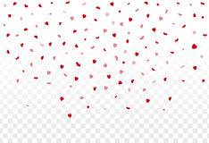 Red hearts petals falling on white background for Valentine`s Da Stock Images