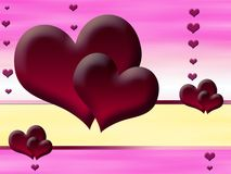 Red hearts on a pink background Stock Image