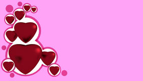 Red hearts. On pink background Stock Illustration