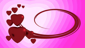 Red hearts. On pink background Stock Photos