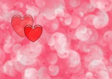 Red Hearts and Pink Bubbles Background Royalty Free Stock Images
