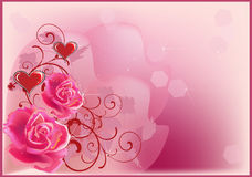 Red hearts and pink roses illustration Royalty Free Stock Photos