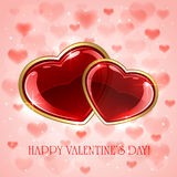 Red Hearts on pink Valentines background Royalty Free Stock Images
