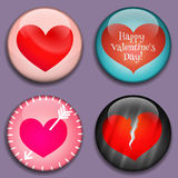 Red Hearts with place for pictures or text. 3D buttons. Vector. Red Hearts with place for pictures or text. Hearts buttons with shadows. Modern Flat style. Great Royalty Free Stock Photos