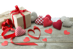 Red hearts and presents Royalty Free Stock Images
