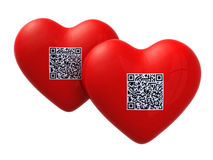 Red hearts with qr code Royalty Free Stock Photos