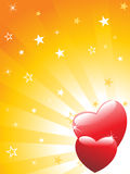 Red hearts with rays background Stock Photography