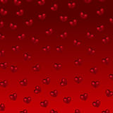 Red hearts on a red background. Red falling hearts on a red background stock illustration