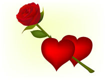 Red hearts and red rose Royalty Free Stock Photography