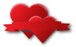 Red hearts and a ribbon Royalty Free Stock Images