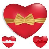 Red hearts with ribbons and bows isolated on white background. Decoration for Valentine`s day and other holidays. Vector. Illustration Stock Images