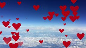 Red hearts rising up on background blue sky with white clouds animation card Seamless loop. Red hearts rising up on background blue sky with white clouds stock video footage