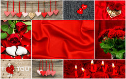 Red hearts, rose flowers, decorations. Valentines Day Royalty Free Stock Photo