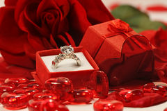 Red hearts and rose with wedding ring Royalty Free Stock Images