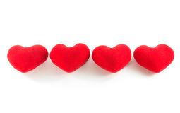 Red hearts in row alignment Stock Photography