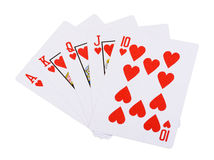 Red hearts royal straight flush poker Stock Photo