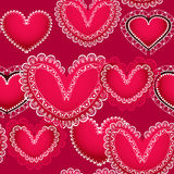 Red hearts seamless background Stock Image