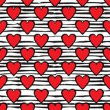 Red hearts seamless pattern on doodle line background. St. Valentines day wrapping paper. Vector illustration Stock Photos