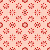 Red hearts seamless pattern. Retro seamless pattern. Pink hearts and dots on beige background royalty free illustration