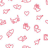 Red hearts seamless pattern. Royalty Free Stock Photography