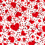 Red hearts seamless pattern. Vector love repeat texture Stock Photos