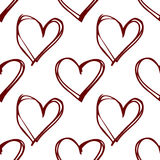 Red hearts - seamless vector pattern. White background. Stock Photos