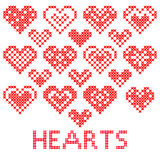 Red hearts. Set of abstract red hearts with embroidery Royalty Free Stock Photography