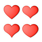 Red hearts set Stock Photo