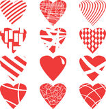 Red hearts set, isolated on white background,  illustration. Set of Red hearts isolated on white background,  illustration St. Valentines Day Royalty Free Stock Images