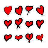 Red hearts set, Valentine day love adult xxl design Royalty Free Stock Photos