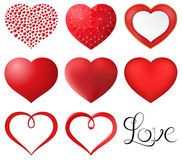 Red Hearts Set. Set of red hearts vector illustration. Saved in eps 10 file with 1 transparent object. Gradient mesh and simple gradient is used. Well Royalty Free Stock Photo