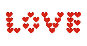 Red hearts set in word LOVE. Stock Image