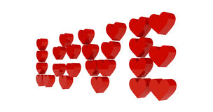 Red hearts set in word LOVE. Royalty Free Stock Photo