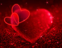 Red hearts with shining and stars Stock Photography