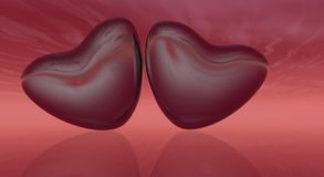 Red Hearts with Sky Stock Photography