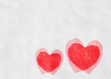 Red Hearts on Snow. Texture background Stock Images