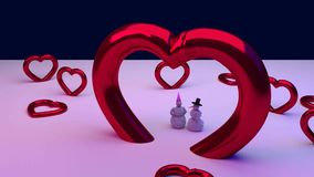 Red hearts and a snowman and his girlfriend. 3D rendering of a snowman and his girlfriend and some glossy red hearts: BIG LOVE vector illustration