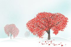 Love tree full of heart shaped leaves Royalty Free Stock Images