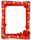 Red Hearts Stars Frame or Border. A decorative background illustration featuring red hearts and gold stars as a frame or border Stock Photography