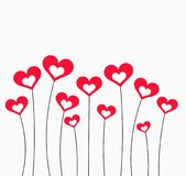 Red hearts card. Red hearts on stems Valentine`s Day card illustration Stock Photography