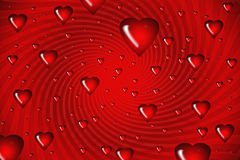 Red hearts on swirl background Illustration Royalty Free Stock Image
