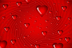 Red hearts on swirl background Illustration Stock Photography