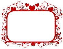 Red Hearts Swirls Valentine's Day Frame. A background illustration featuring a frame of red hearts and swirls silhouettes for Valentine's Day Stock Images