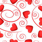 Red hearts and swirls on white background Royalty Free Stock Image