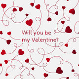 Red hearts on swirly stems on a white background. Will you be my Royalty Free Stock Image