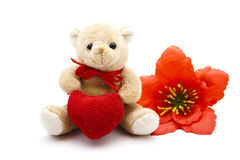 Red Hearts with Teddy bear Royalty Free Stock Images