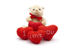 Red Hearts with Teddy bear Stock Image