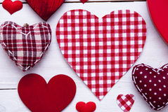 Red Hearts Texture, Text Happy Valentines Day Royalty Free Stock Photography