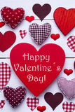 Red Hearts Texture, Text Happy Valentines Day, Vertical Image Royalty Free Stock Photo